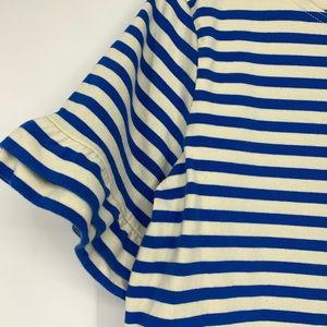 J. Crew Tops - 🌵 J Crew Ruffle Sleeve Striped Shirt Blue White